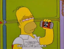 Homer Simpson drinking a beer