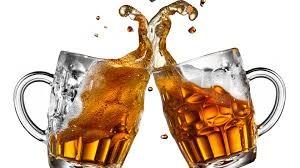 2 Beer Glasses spilling beer